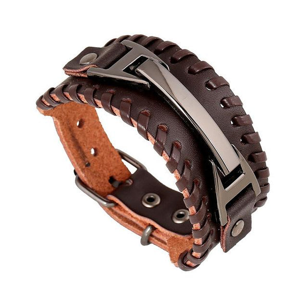 Free Bracelets - Punk Rock Men Weave Genuine Leather Bracelets