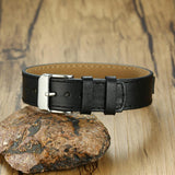 New Stylish Men's Black Genuine Leather Bracelet Engraving 12MM Customized ID