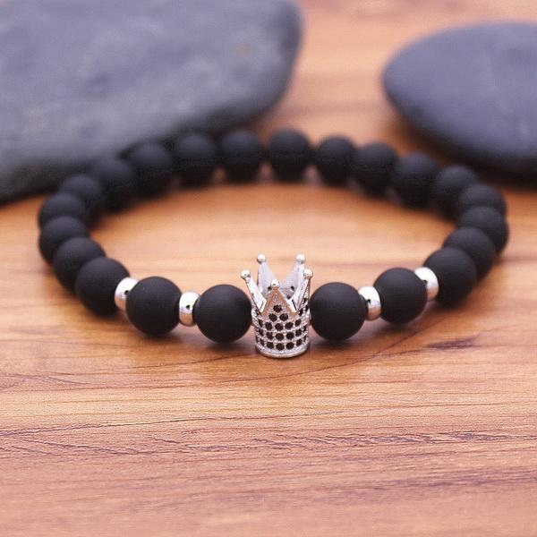 Free Bracelets - King Crown Charm Bracelets Natural Bianshi Stone Beads For Women Men