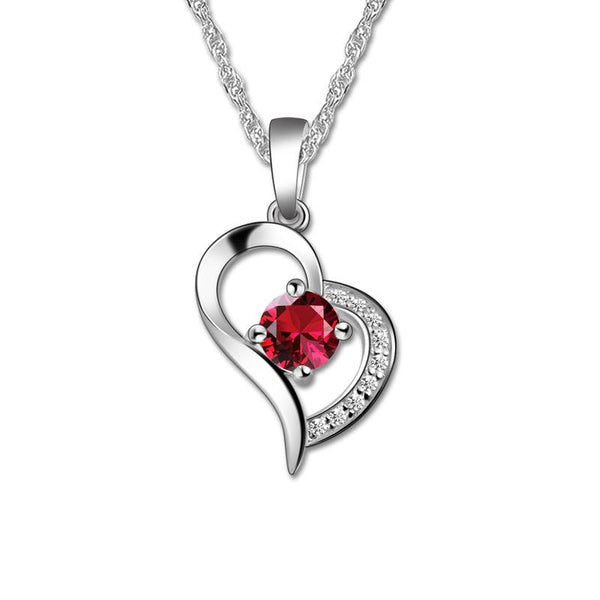 Personalized Love Heart Necklace White Gold Color Birthstone Necklace