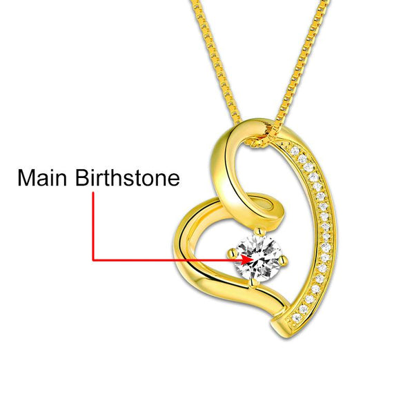 Custom Love Heart Necklace Gold Color Birthstone Necklace For Her Only You Women Necklace