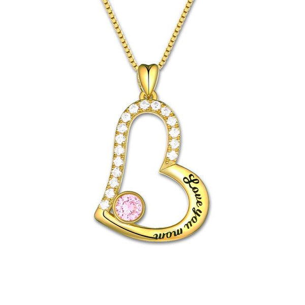 "Personalized Mother Necklace ""Love You Mom "" Mother's Day Necklace White Gold Color Birthstone Necklace"