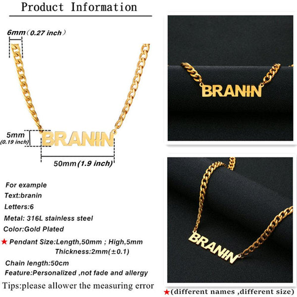 Name Necklace Stainless Steel Choker Gold Color Personalized Nameplated Necklaces & Pendants Custom Jewelry Women Man Gift