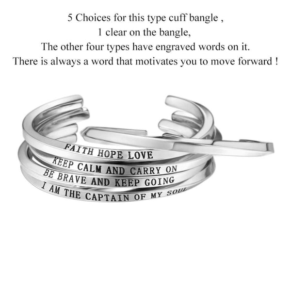 Engraved Words Cuff Bangle Bracelet For Men/Women