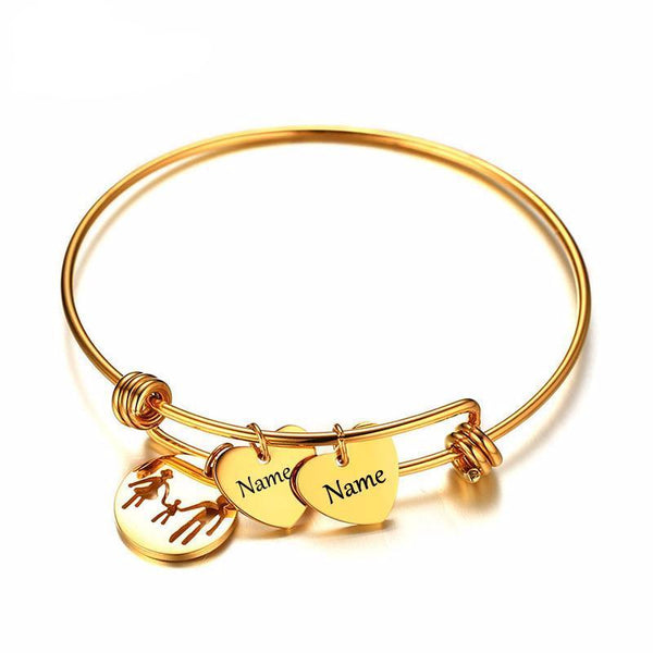 Name Engraving Charms Bracelet Bangle for Women Gold Color Stainless Steel