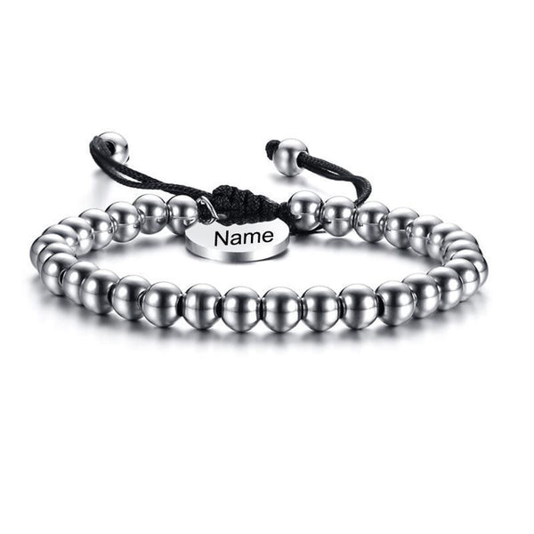 Personalized Name Charm 6mm Stainless Steel Beads Women Men Bracelet Bangle