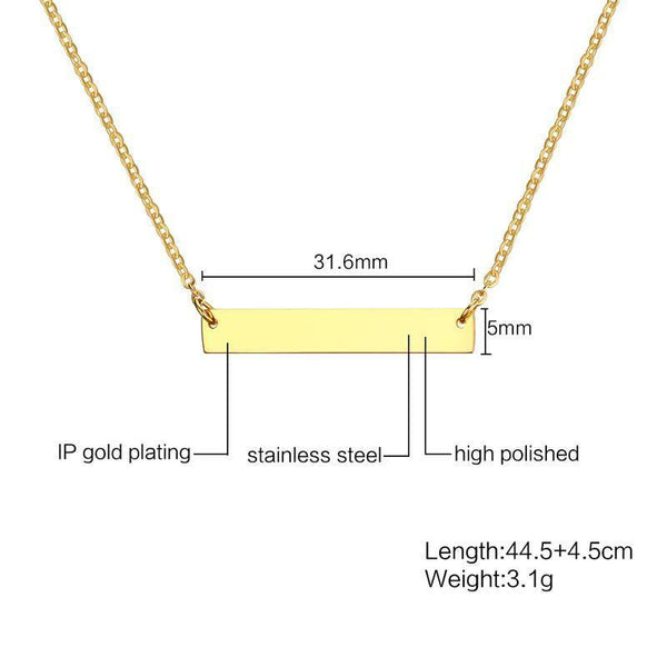 Personalized GPS Coordinate Bar Choker Necklace for Women Gold Color Stainless Steel
