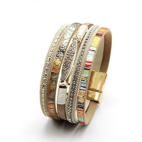 Free Bracelets -  Latest Fashion Rhinestone Bar Bohemian Women Leather Bracelet for women