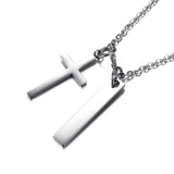 Customized Coordinate Info Bar Necklace Engraving Cross Pendant