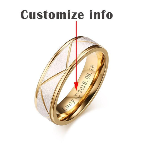 Rings for Love Matte Finish Stainless Steel Gold Color Personalized Engrave Name