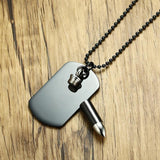 Personalized Black Dog Tag Openable Bullet Pendant for Men Necklace Stainless Steel