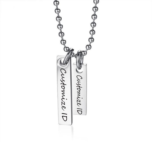 "Engraving Personalized ID Necklace Stainless Steel Parallel Bars Choker Necklace Pendant With 20.2"" Chain"