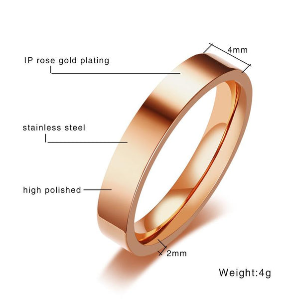 GPS Location Longitude and Latitude Info Wedding Bands Ring for Women 3 Colors Stainless Steel