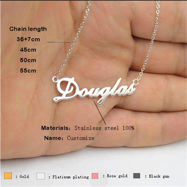 Stainless Steel Necklace Name Custom Pendant Jewelry Women Accessories