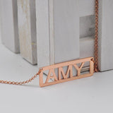 Rose Gold Initial Bar Necklace Custom Capital Letter Pendent Personalized Mom Gift