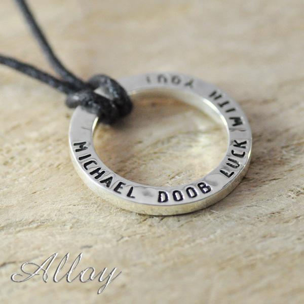 Custom Alloy Necklace Circle Name Pendant Custom Stamped Necklace Any Name