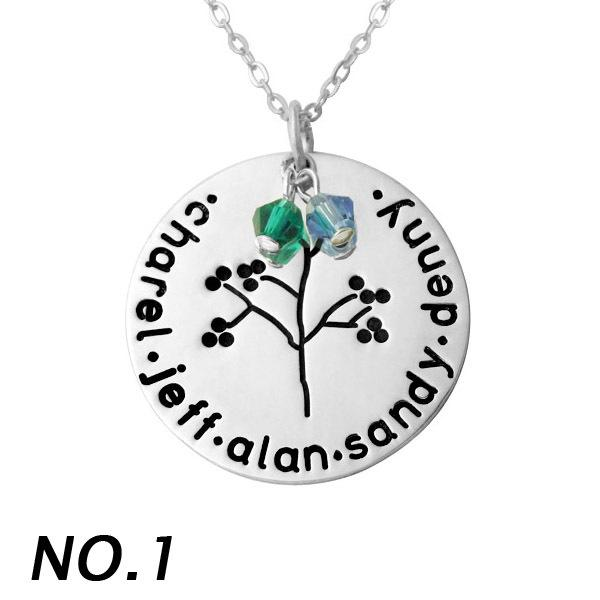 Personalised Alloy Family Names Necklace Family Tree Charm Disc And Birthstone Pendant