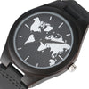 BLACK WOODEN WORLD MAP WATCH