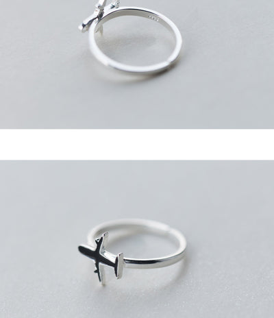 Airplane Silver Ring