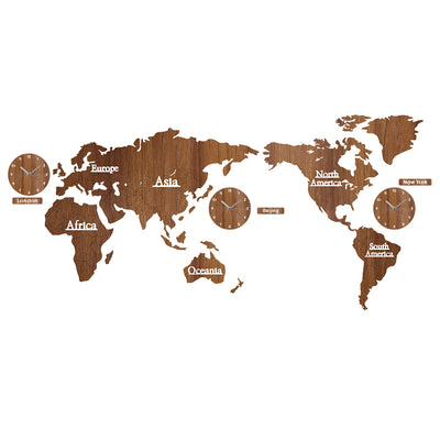 Creative Wooden World Map with 3 Clocks