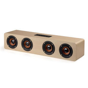 4 Horns High Power Wood Wireless Bluetooth Speaker - Paruse