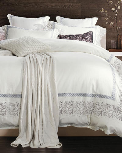Silver Embroidery Lace White Bedding Set. - Paruse