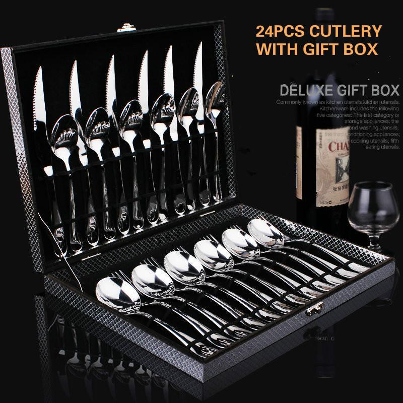 24pcs set Cutlery Tableware w/Gift Box - Paruse