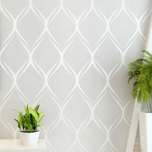 White Textured Modern Geometric Wallpaper - Paruse