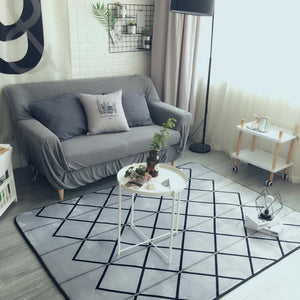Modern Geometric Grey Check Living Room Area Rug - Paruse
