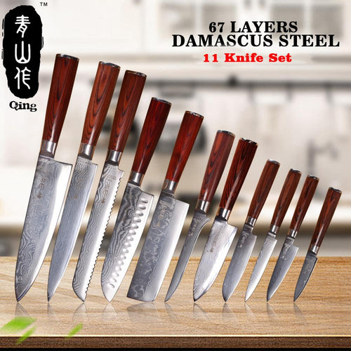 QING 11-Pieces Japanese Damascus Knife set.