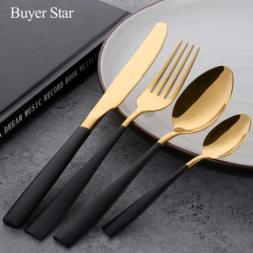 24Pcs Black Gold Dinnerware Set - Paruse