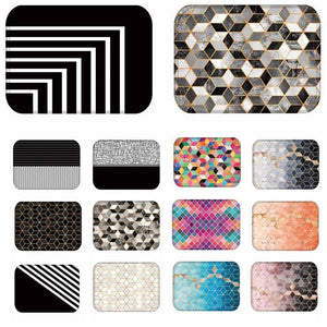 Geometric Pattern Anti-Slip Suede Carpet Door Mat - Paruse