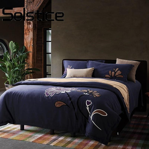 Solstice Deep Blue Floral Printed, Cotton Duvet Cover Sets - Paruse