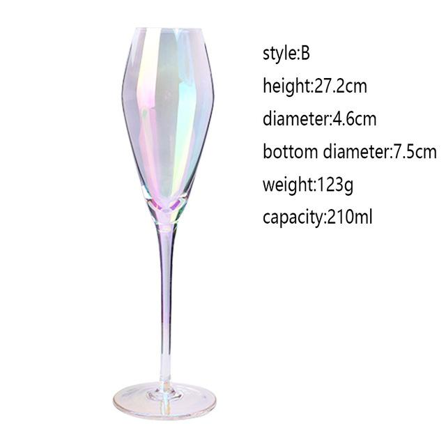 Crystal Champagne Wine Glass - Colours of the Rainbow