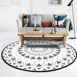 Ethnic Grey Triangles Circles Area Rug - Paruse