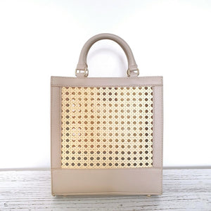 MAISLE RATTAN SLING BAG (DOVE GREY)