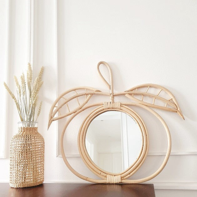 Olivia Apple Rattan Mirror, Decor - The Happy Beach