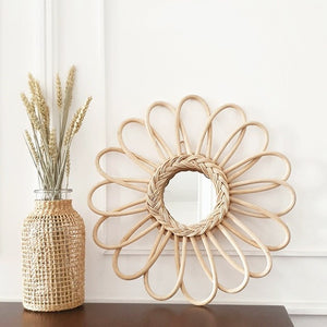 Thea Flower Rattan Mirror, Decor - The Happy Beach