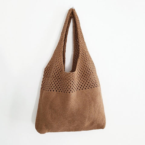 Macey Crochet Tote (Brown)