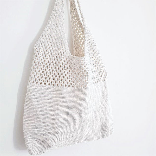 Macey Crochet Tote (White)