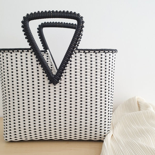 Kae Woven Tote (Black), Bags - The Happy Beach