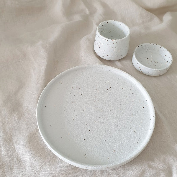 Sumi Speckled Cup, Plate - The Happy Beach