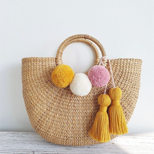 Cressia Straw Bag With Chunky Tassel (Laguna), Bags - The Happy Beach