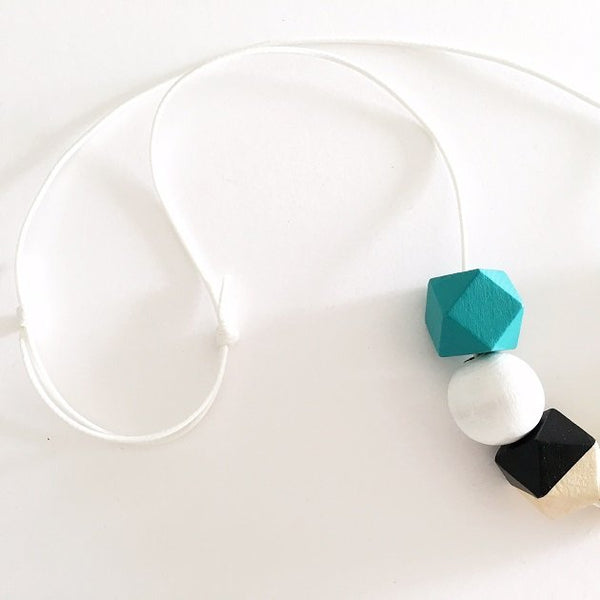 Geometric Monotone Necklace (Teal), Necklaces - The Happy Beach