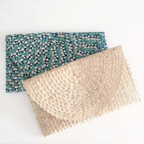 Sienna Woven Clutch, Bags - The Happy Beach