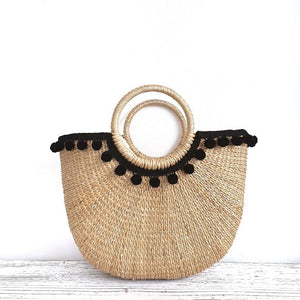 Cressia Straw Bag With Mini Poms (Black), Bags - The Happy Beach