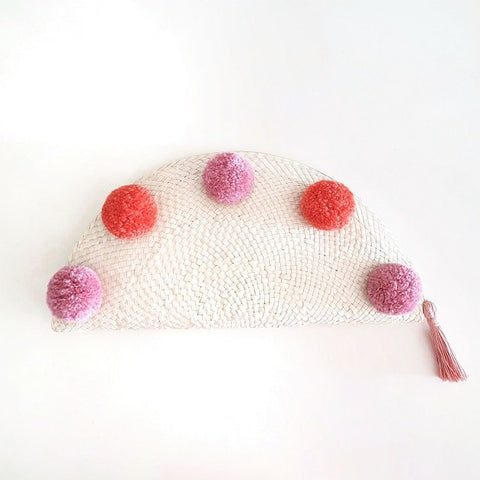 Taco Pom Poms Clutch (Pink/Orange), Bags - The Happy Beach
