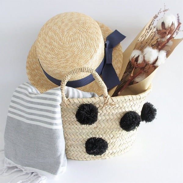 Black Pom Pom Basket, Bags - The Happy Beach