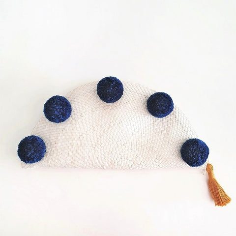 Taco Pom Poms Clutch (Navy Blue), Bags - The Happy Beach