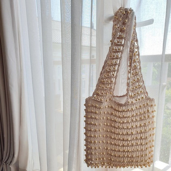 Carla crochet beaded tote (Nude), Bags - The Happy Beach